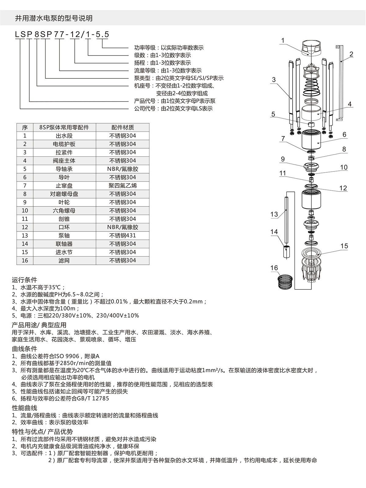 8SP系列深井潜水泵